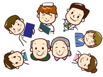 特別養護老人ホームに勤務する様々な職員と入居者